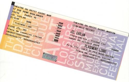 Billet de concert Jil Caplan du 5 octobre 2009.jpg